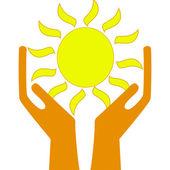 Un sole in mani su sfondo bianco — Foto Stock