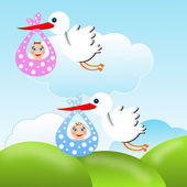 Storks carry babies on a background blue sky — Stock Photo