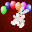 Fluffy hare with  balloons on a claret background — Stock Photo