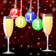 Foto Stock: Two glasses with champagne and new-year balls