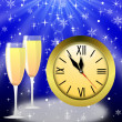 Foto Stock: Round clock and two glasses with champagne