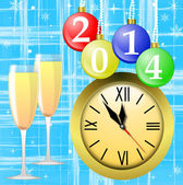 Clock,glasses with champagne and new-year marbles — Stock Photo