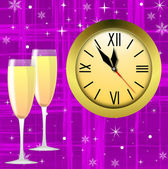 Round clock and two glasses with champagne — Foto de Stock