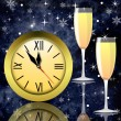 Stock Photo: Round clock and two glasses with champagne