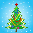 Beautiful new-year tree on blue background — Stock fotografie #34617005