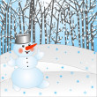 Snow man on a background winter landscape — Stock Photo