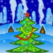 New-year tree on a background winter landscape — Stockfoto