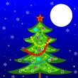 New-year tree on a background star sky — Stock Photo