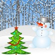 New-year tree and snow man — Foto Stock