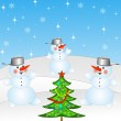 New-year tree and and three snow men — Stock Photo #34619555