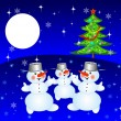 New-year tree and and three snow men — Stock Photo