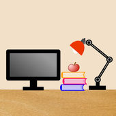 Reading-lamp, computer, three books and apple on a table — Stock Photo