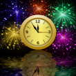 Round beautiful clock on background bright banger — Stock Photo #34625317