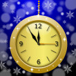 图库照片: Round beautiful clock on blue background