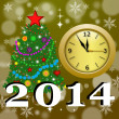 Stock Photo: Round clock with new-year tree