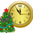 Round clock with a new-year tree — Stock Photo