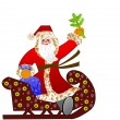 Santa claus with the sack of gifts in sledges  — Stock Photo