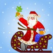 Santa claus with the sack of gifts in sledges — Stock Photo #34629215