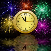 Round beautiful clock on a background a bright banger — Stock Photo