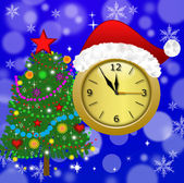 Clock with a new-year cap and fir-tree decorated — Foto de Stock