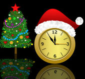 Clock with a new-year cap and fir-tree decorated — Stock Photo