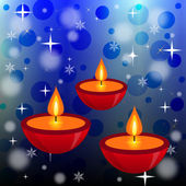 Three bright beautiful candlesticks on an abstract background — 图库照片