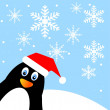 Amusing penguin on a background blue sky — Image vectorielle