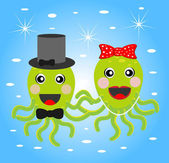 Merry girl and boy octopuses — Stock Vector