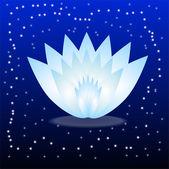 Gently blue flower on a dark blue background — Vector de stock