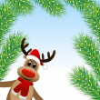 Amusing deer and branches of fluffy fir-tree — Image vectorielle