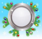 与银冷杉的树枝的节日圣诞节背景。 — 图库矢量图片