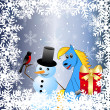 Stock Vector: Blue horse and snow man