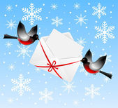 Birds bullfinchs carry an envelope with congratulation — Stockvector