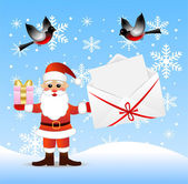 Santa claus with a gift and envelope with congratulation in hand — Vector de stock