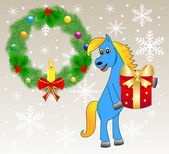 Blue horse with a gift — Stock Vector
