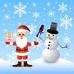 Santa claus and snow man — Stock Vector