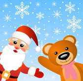 Santa claus and little bear — Stock Vector