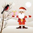 Santa claus with a gift and bird bullfinch — 图库矢量图片