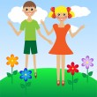 Stock Vector: Merry girl and boy in summer on lawn