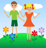 Merry girl and boy in summer on lawn — Stock Vector