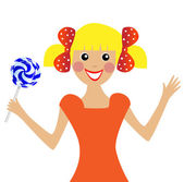 Merry girl with lollipop in hand — Stock Vector