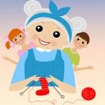 A merry grandmother binds socks for grandchildren — Stock Vector