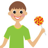 Merry boy with lollipop in hand — Stock Vector