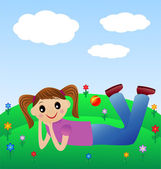 Merry girl lie on green lawn — Stockvector