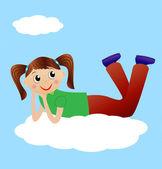Merry girl lie on cloud — Stock Vector