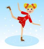 Fröhliche mädchen geht für ein laufwerk im schönen kleid auf skate — Stockvektor