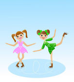 Two merry girl goes for a drive in beautiful dress on skate — Stock Vector