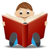 Little boy read book — Stock Vector