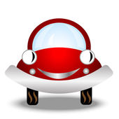 Little red car on white background — Stock Vector