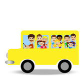 Much little child in yellow bus — Stockvector